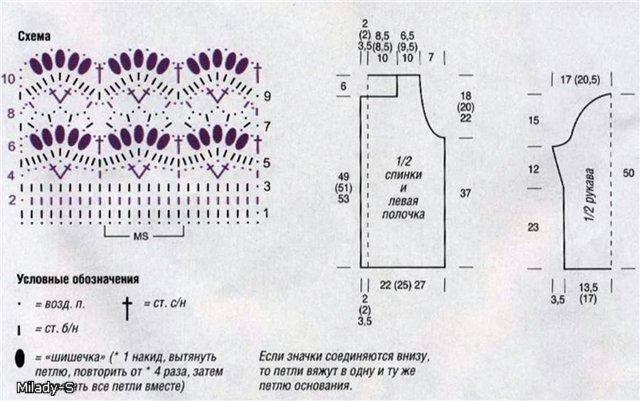 Основной узор вязания: Вязать по схеме.