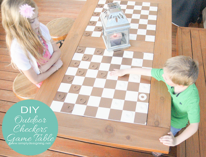 DIY Outdoor Checkers Game Table