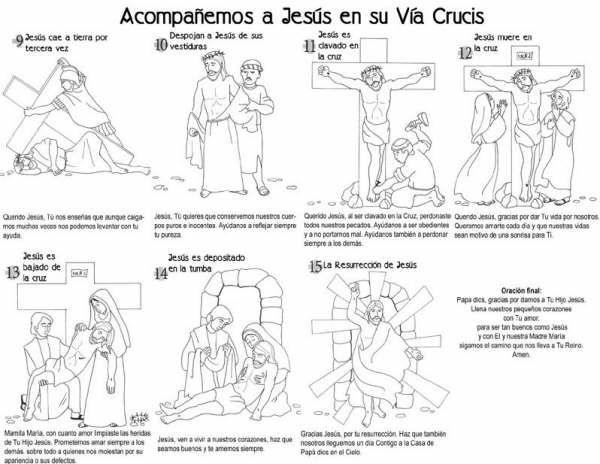 Dibujo de las ultimas estaciones del viacrucis para colorear y ...