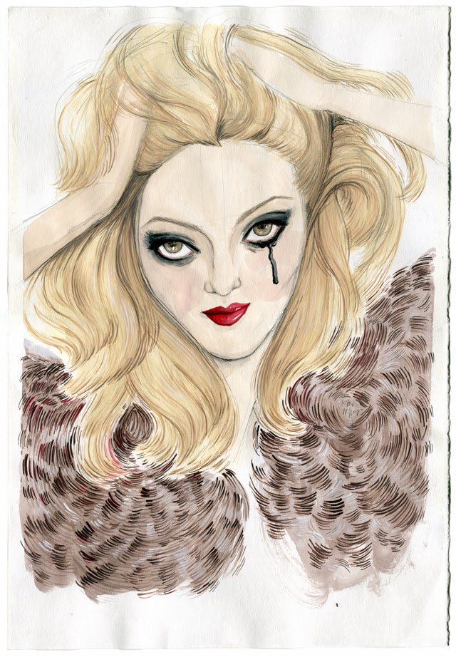 Kitty N. Wong / Cat Marnell Gouache Portrait Painting