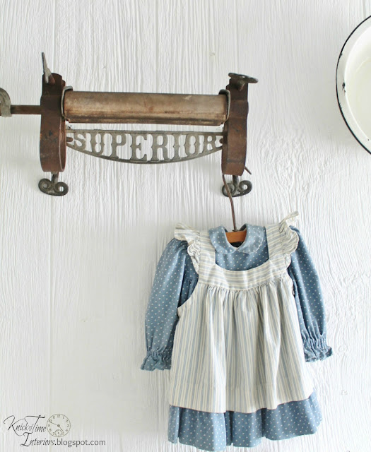 Antique Clothes Wringer Laundry Room Remodel Vintage Baby Dress via http://knickoftimeinteriors.blogspot.com/