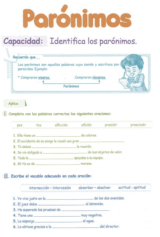 Parónimos para niños 5° Grado Primaria | Razonamiento Verbal - photo#7