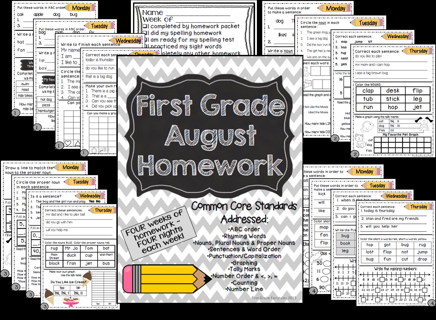 http://www.teacherspayteachers.com/Product/First-Grade-Common-Core-Homework-August-790308