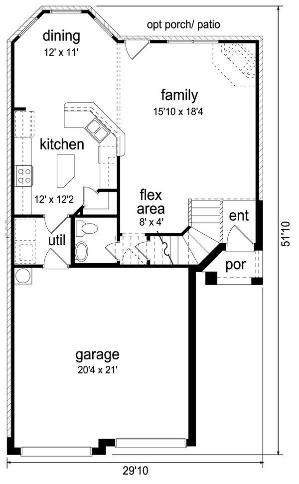 Baño Bajo Escalera Plano:Plano de casa mediano tamaño 3 dormitorios 151 m2