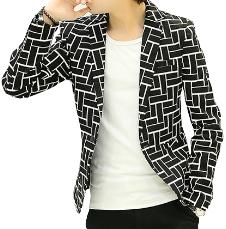 Brick Maze Pattern Black White Trendy Blazer