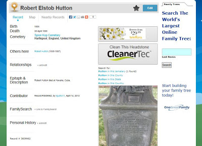 Result page from Billion Graves showing a small image of a gravestone and the information for death date and location listed on the left.  There are also a variety of advertisments.