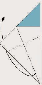 Bước 3: Gấp chéo tờ giấy ra phía mặt đằng sau.