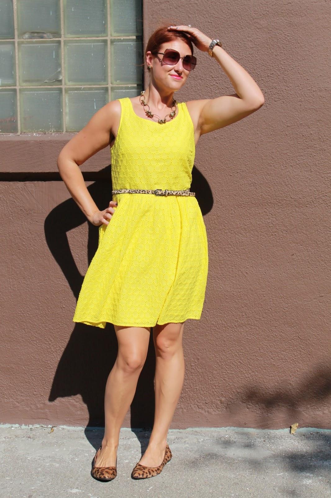 Yellow eyelet dress old navy