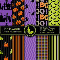 Free 10 Digitale Scrapbooking Papers Halloween