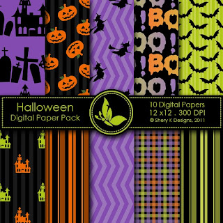 Free 10 Scrapbooking Digital Papers Halloween