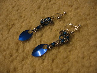 Chain and scale maille earrings