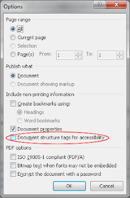 Screen shot of PDF Options dialog in Word 2010.  The Document structure tags for accessibility checkbox is unchecked.