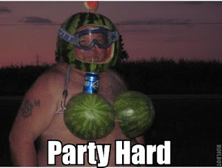 party hard man with watermelon bra