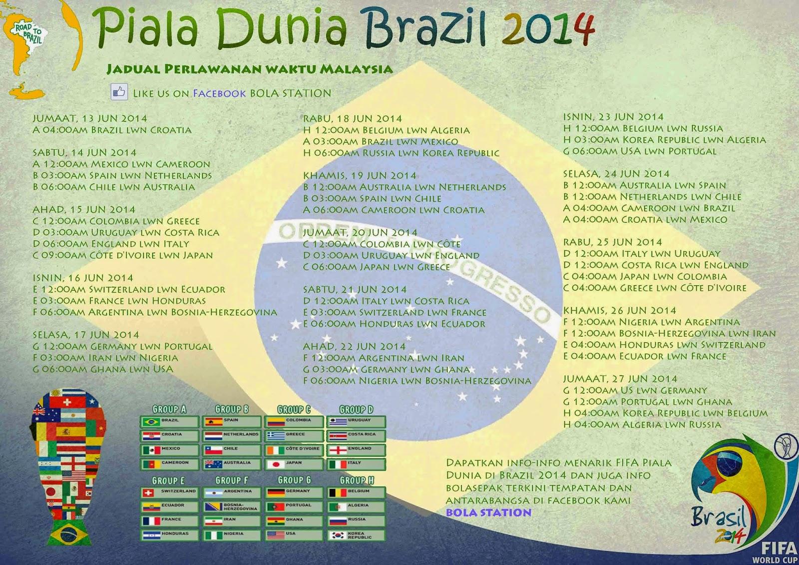 Jadual Perlawanan Bolasepak Piala Dunia Brazil 2014 Waktu Malaysia