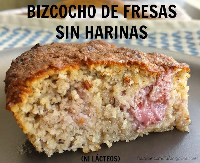 Receta: Prepara un riquísimo queque o bizcocho de frutillas (fresas) sin harinas, gluten ni lácteos