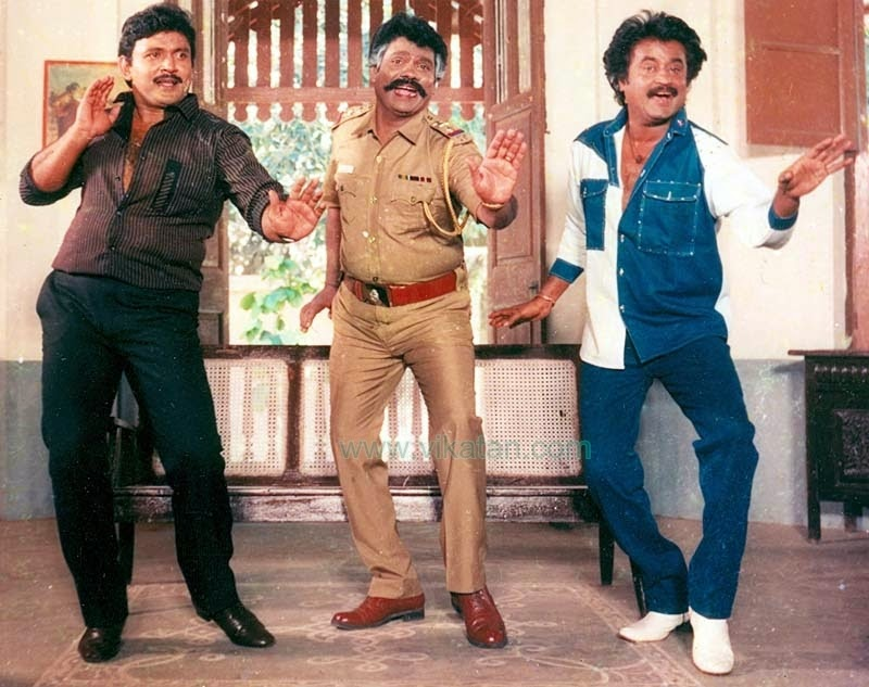 RAJINIKANTH, PRABHU & VINU CHAKRAVARTHY IN 'GURU SHISYAN' MOVIE