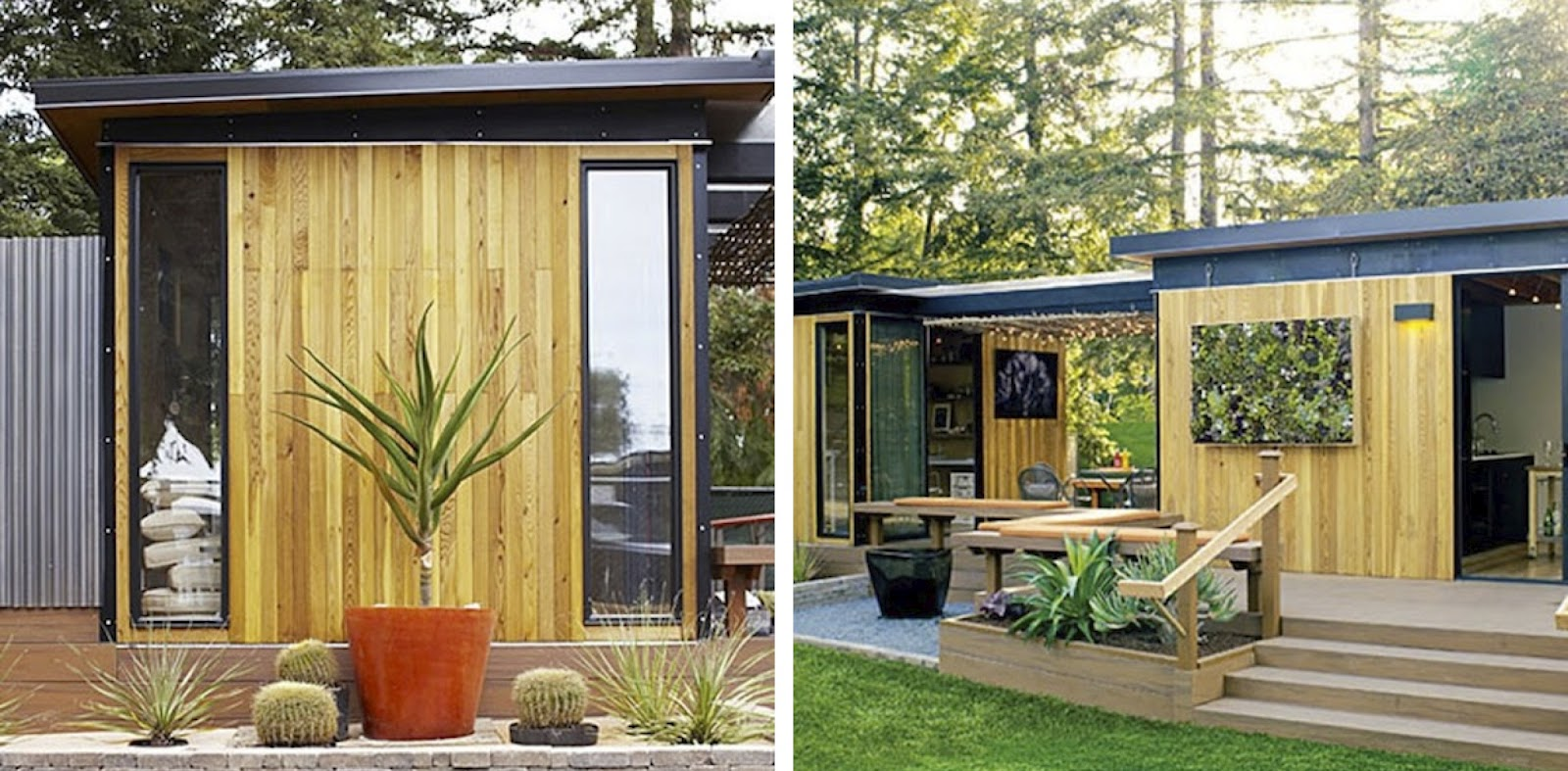 black white yellow prefab cottage from sunset magazine