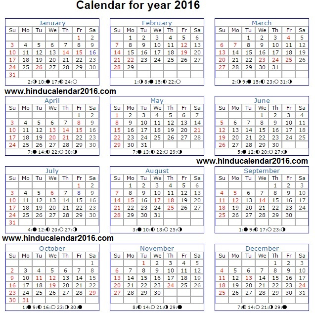 Complete Full Hindu Calendar 2016 with Details