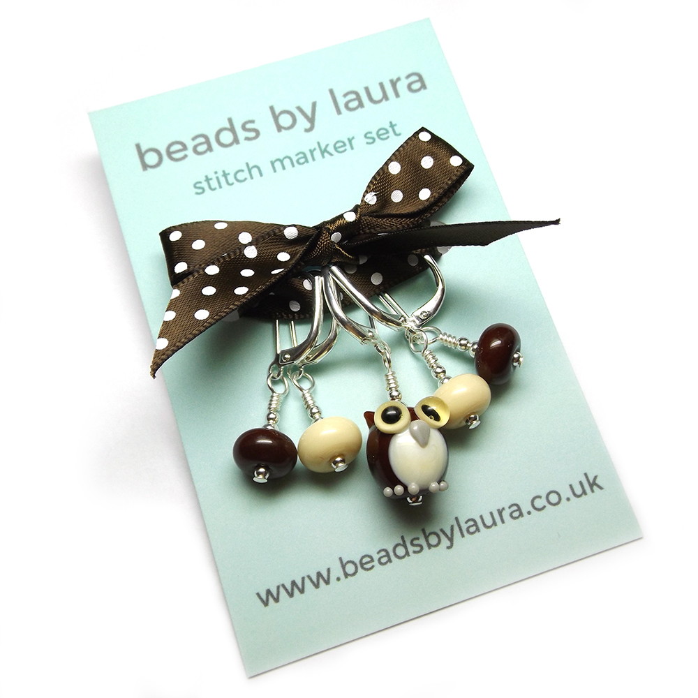 Lampwork glass owl bead stitch marker set by Laura Sparling