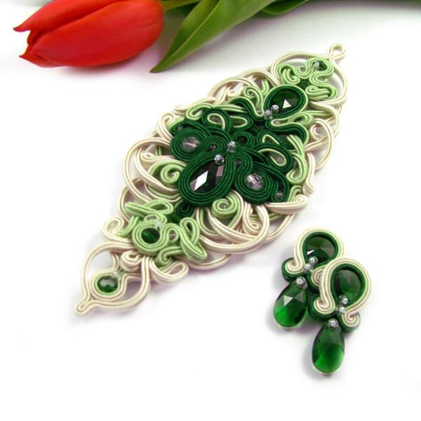 Zielona biżuteria ślubna sutasz