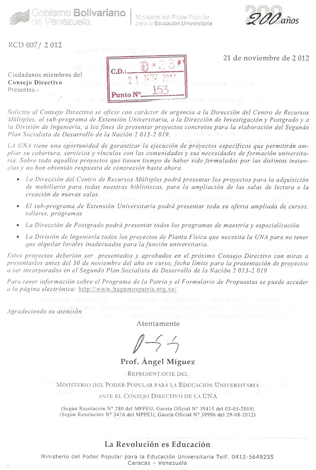 Representación del MPPEU en el Consejo Directivo de la UNA