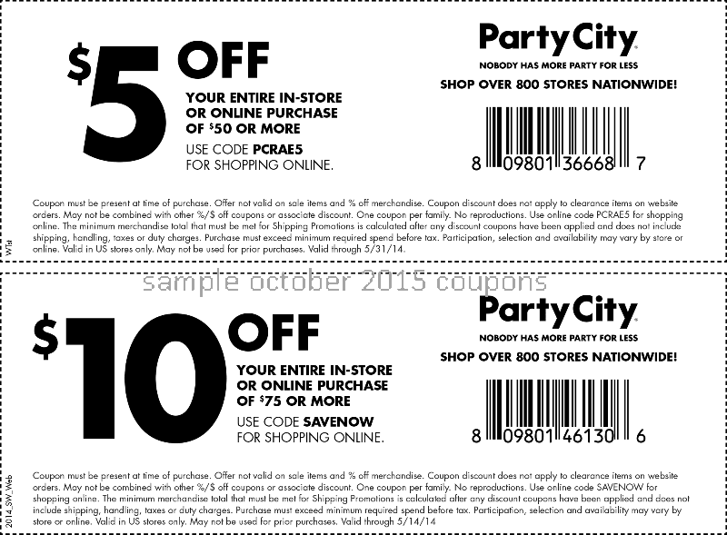 Party city coupons october 2018