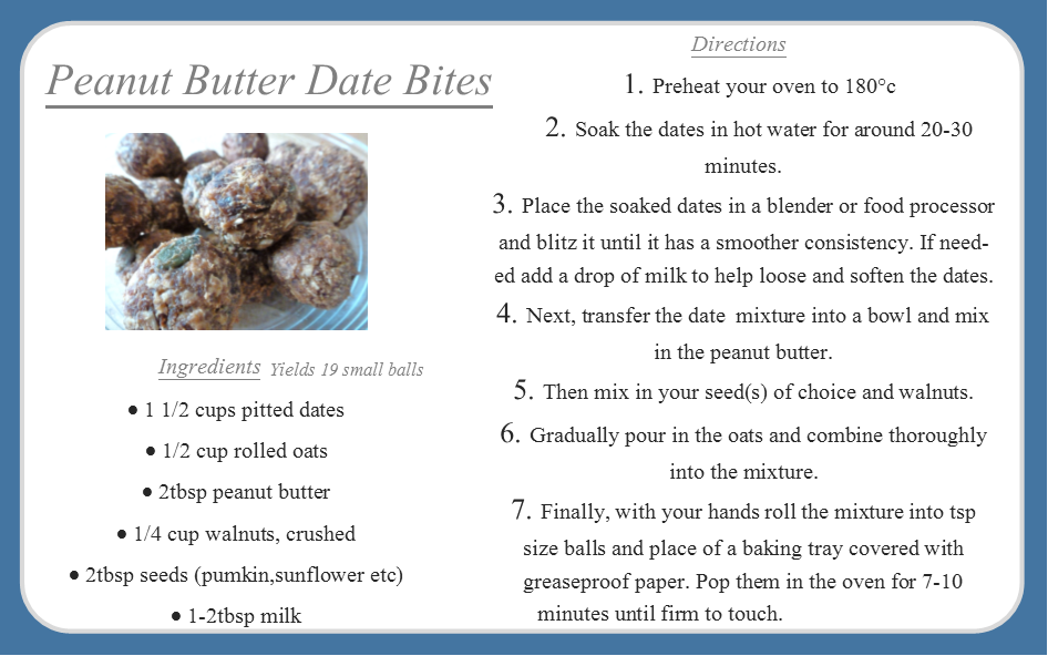 Healthy nutritious snack - peanut butter date bites, raw recipe