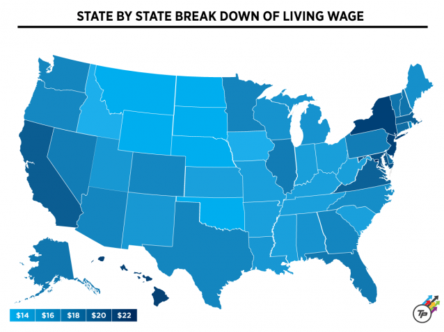 The States Where $15 Isn't A Living Wage