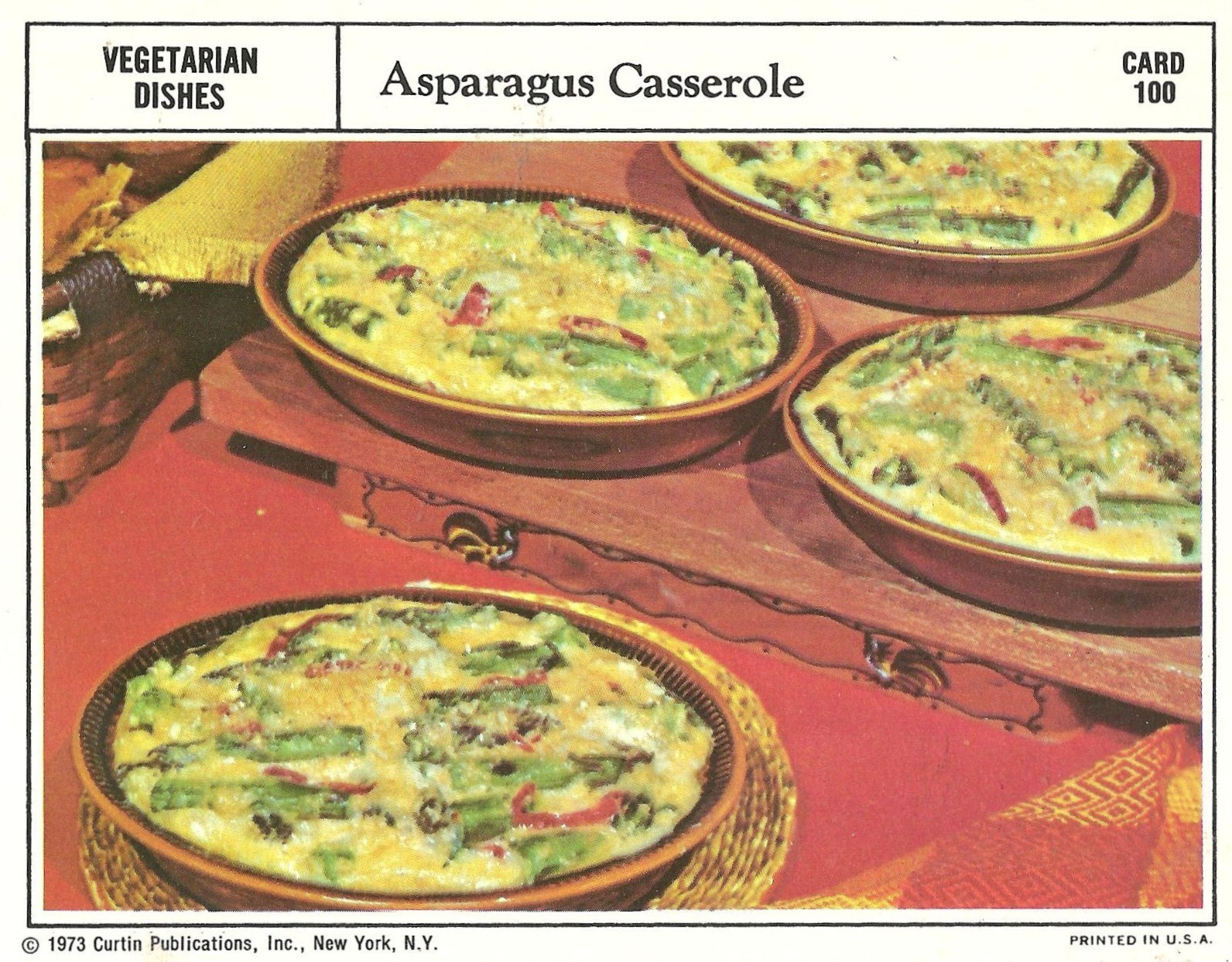 Bad and ugly of retro food the epitome of 1970s food recipe cards a casserole full of asparagus and cheese and other unmentionables one must really have respect for the body chemistry altering properties of asparagus to forumfinder Gallery
