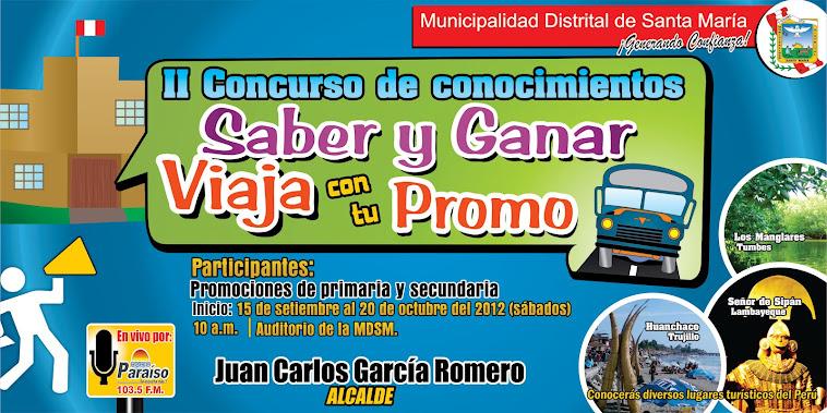 """Concurso """"Saber y Ganar, Viaja con tu Promo"""" va todos los sábados 10 a.m. Radio Paraiso 103.5 FM"""
