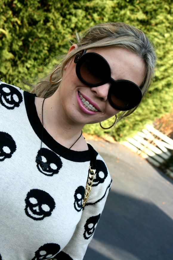 Skull Sweater by Love Couture, Prada Baroque Round Sunglasses