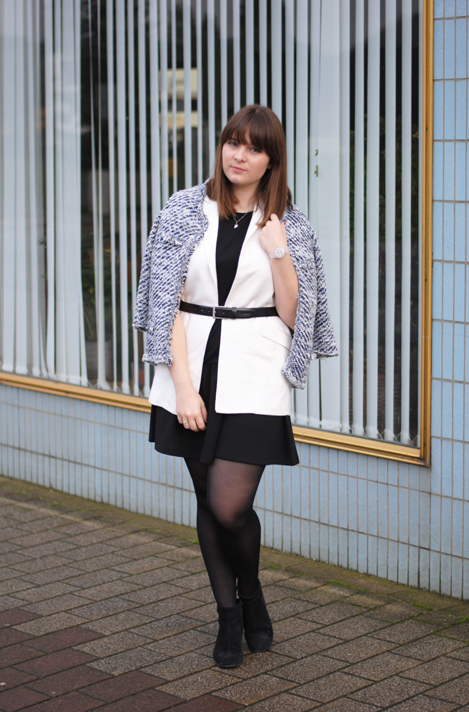 Outfit Layering black dress white long vest jacket