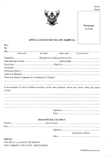 Thailand visa on arrival application form