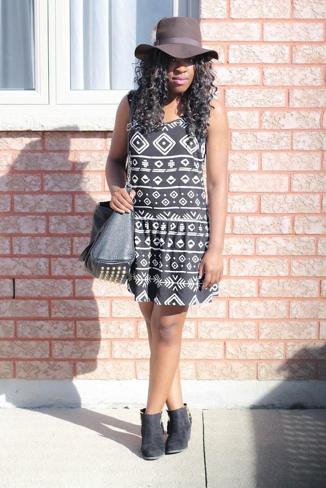 Forever 21 dress, Shoedazzle boots, Filthy Magic