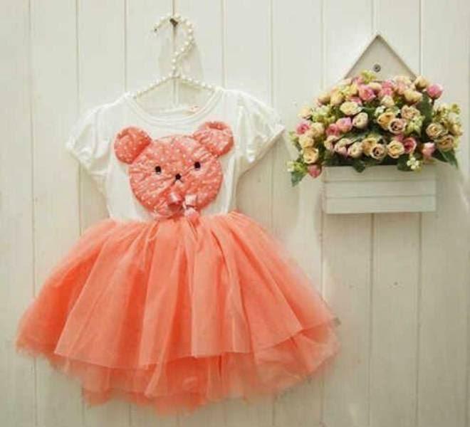 Baju model tutu dress teddy bear warna orange untuk anak perempuan