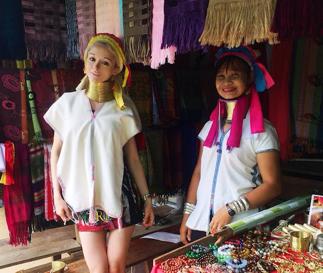 Valeria Lukyanowa caught her fans attention with Myanmar Kayan traditional dress
