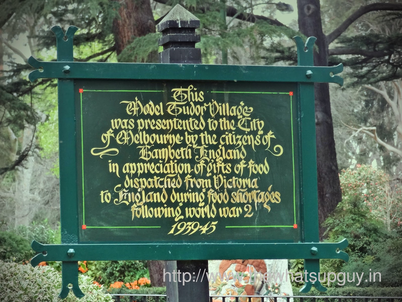 Fritzroy Gardens Tudor Village Sign