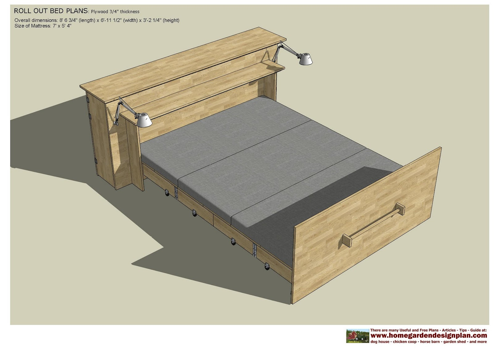 home garden plans: ROB100 - Roll Out Bed Plans Construction - Smart ...