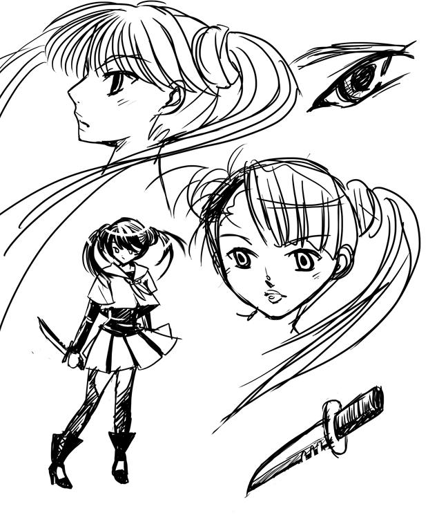 Sketchs d'une écolière avec un poignard