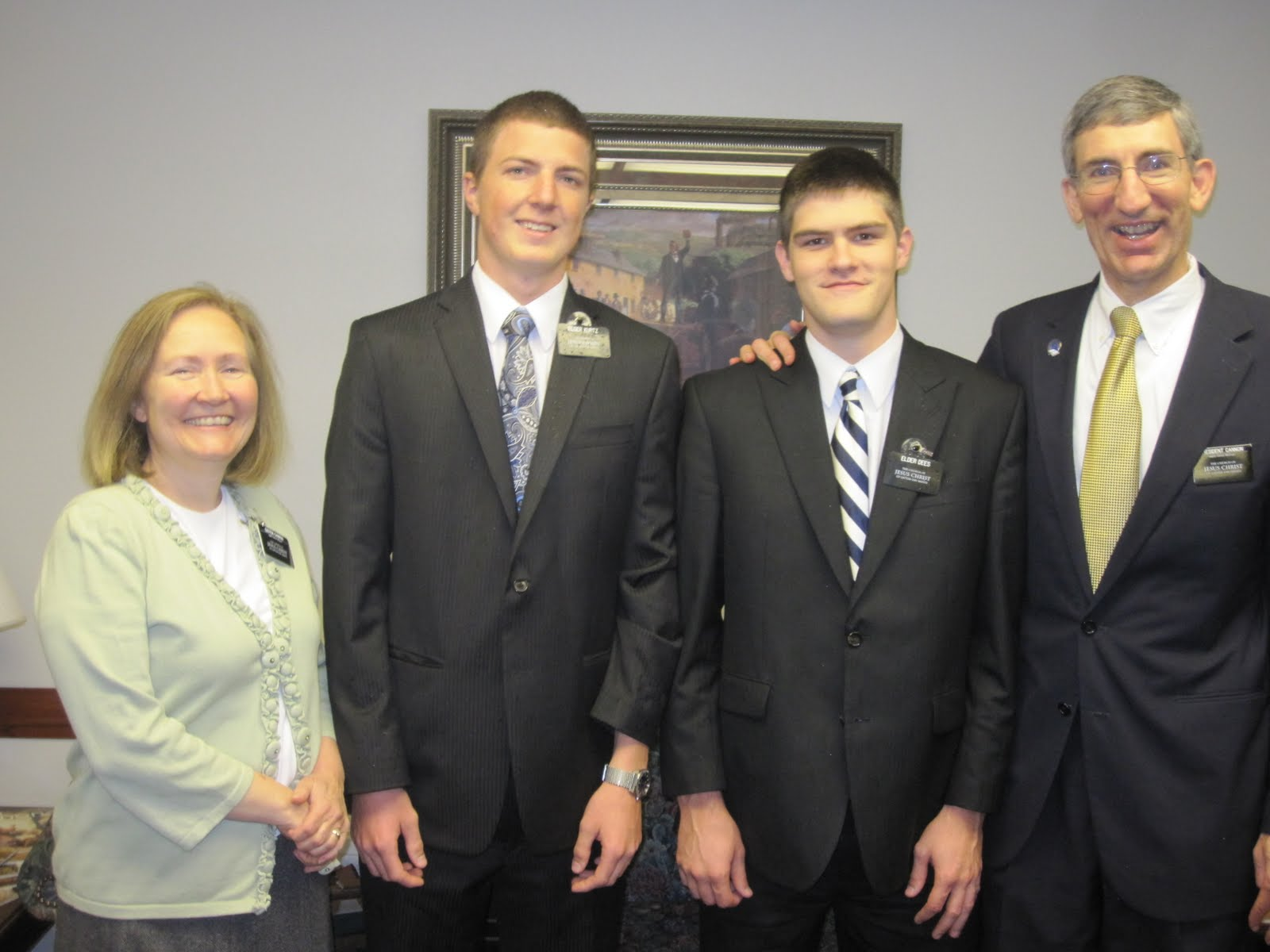Elder Dees w/Mission President-Pres. Cannon and his wife and Elder Dees first companion-Elder Kurtz