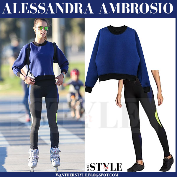 Alessandra Ambrosio in blue sweatshirt and black leggings what she wore models off duty