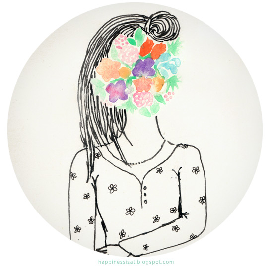 Happiness is... freelance illustration, graphic design & stationery - Flowerface Doodles - watercolour and pen illustrations