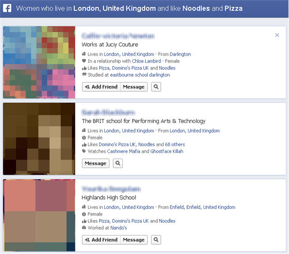 Finding customers through Facebook graph search