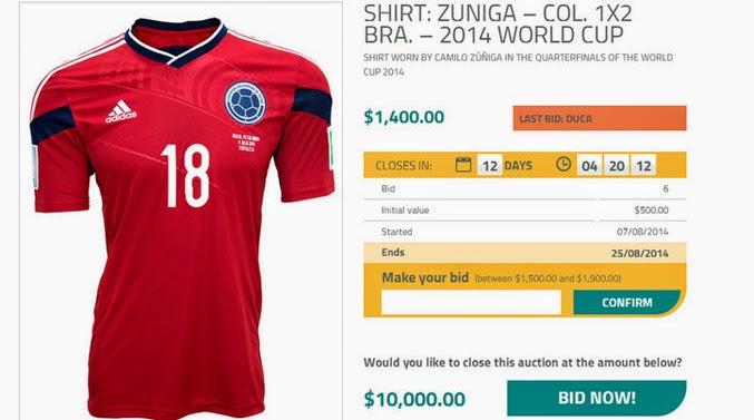 Subastan la camiseta de Zuñiga, el jugador colombiano que lesionó a Neymar
