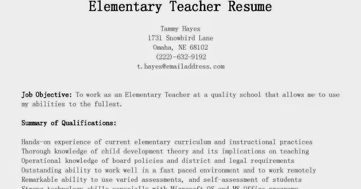 resume samples elementary teacher resume sample