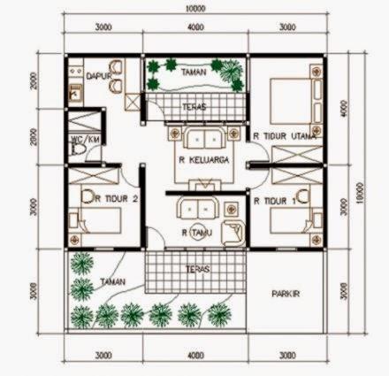 Desain Denah Rumah Mewah 1 Lantai Model Denah Dan Sketsa Rumah