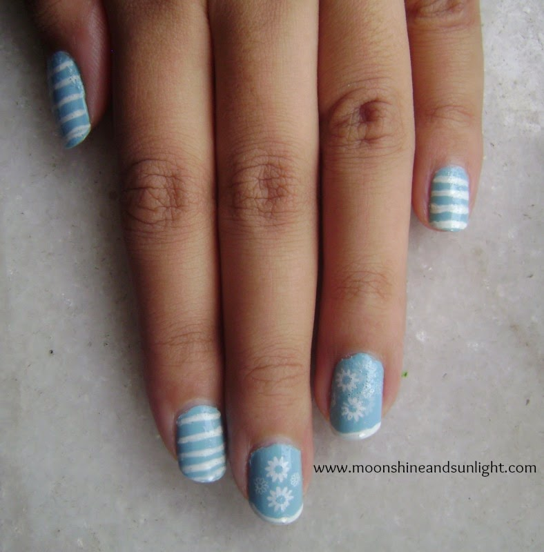 Blue and white striped nail art | Indian nail art blog