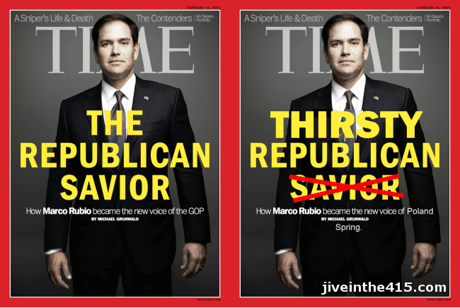 Time Magazine cover featuring Senator Marco Rubio the thirsty Republican