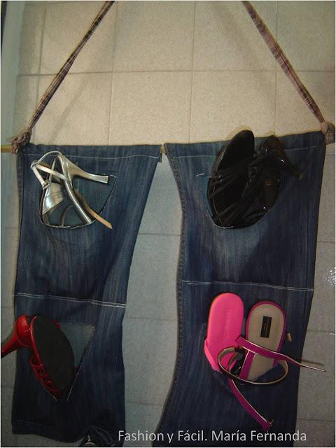 Fashion y f cil eco diy una zapatera con un jean for Como hacer una zapatera