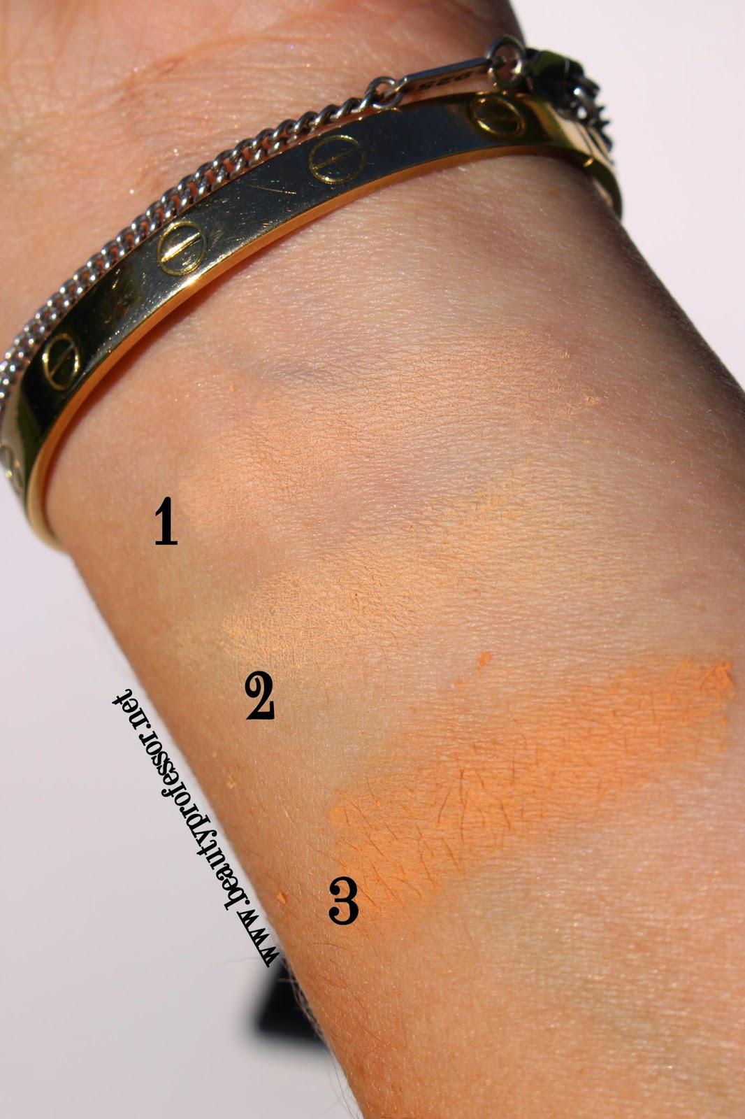 le metier de beaute peau vierge powder swatches